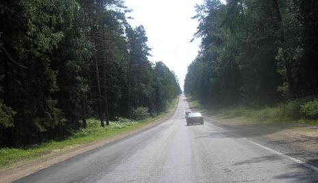 Трасса М-20 «Псков», от Санкт-Петербурга до границы с Белоруссией, через Псков
