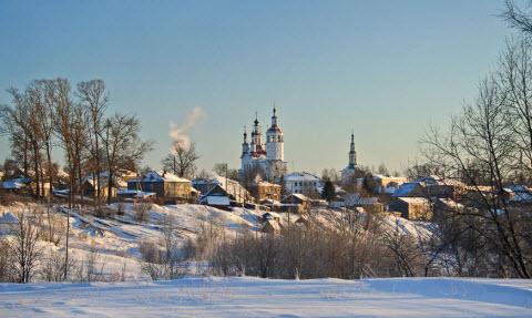 Трасса Р7 Тотьма зимой Вологодская область