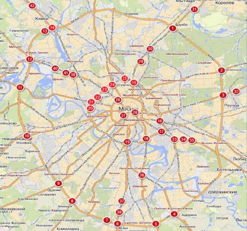 Карта опасных развязок и перекрестков Москвы