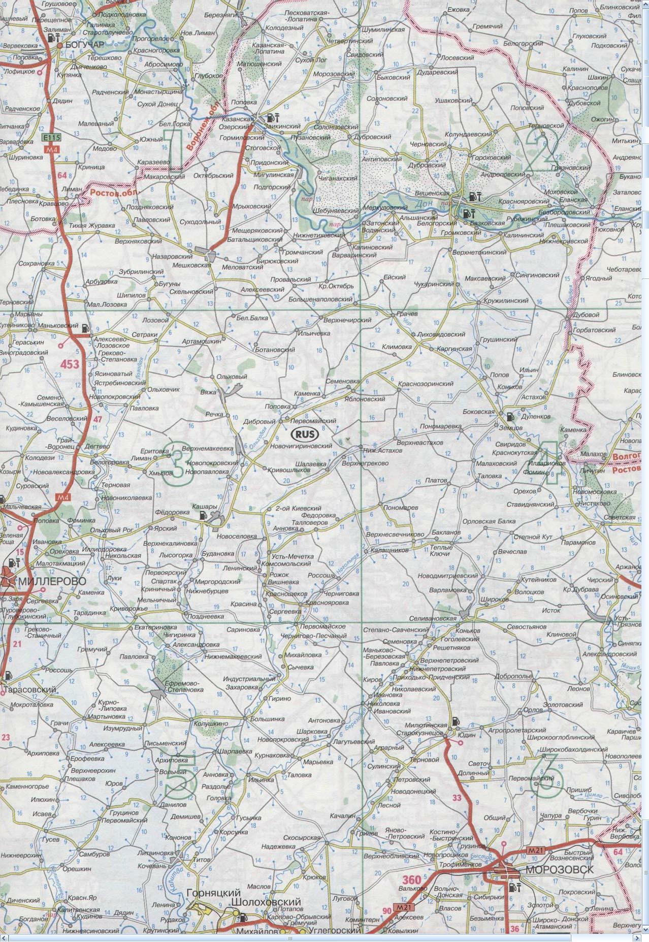 Карта Миллерово, Богучар, Морозовск, Чернышковский