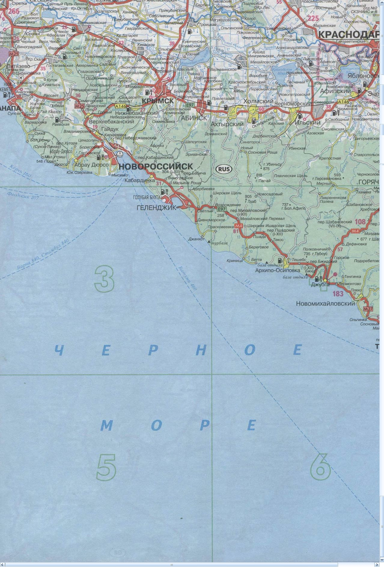 Карта Новороссийск, Анапа, Джубга, Краснодар, Туапсе