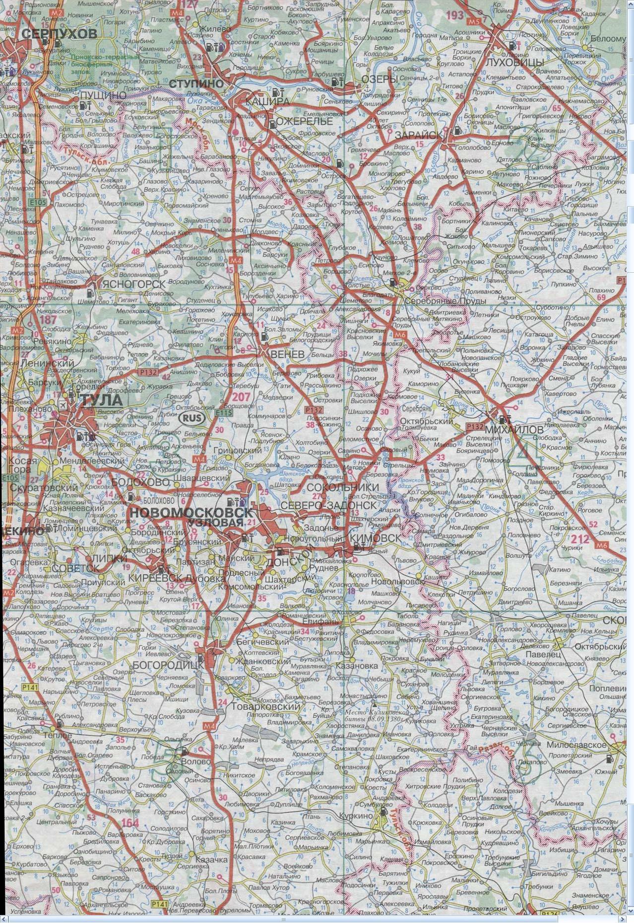 Карта Серпухов, Ступино, Венев, Новомосковск, Тула, Луховицы, Богородицк
