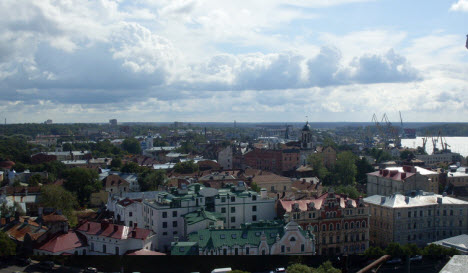 Вид на город с башни св. Олафа, выборг, трасса М10