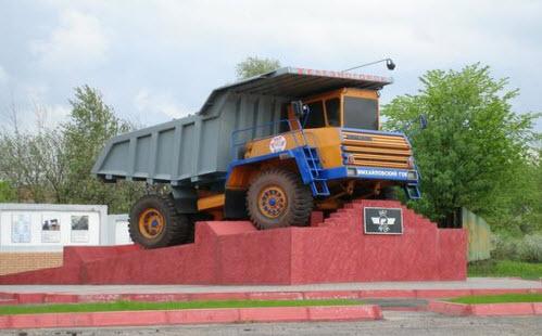 Железногорск, памятник Белазу, трасса А142