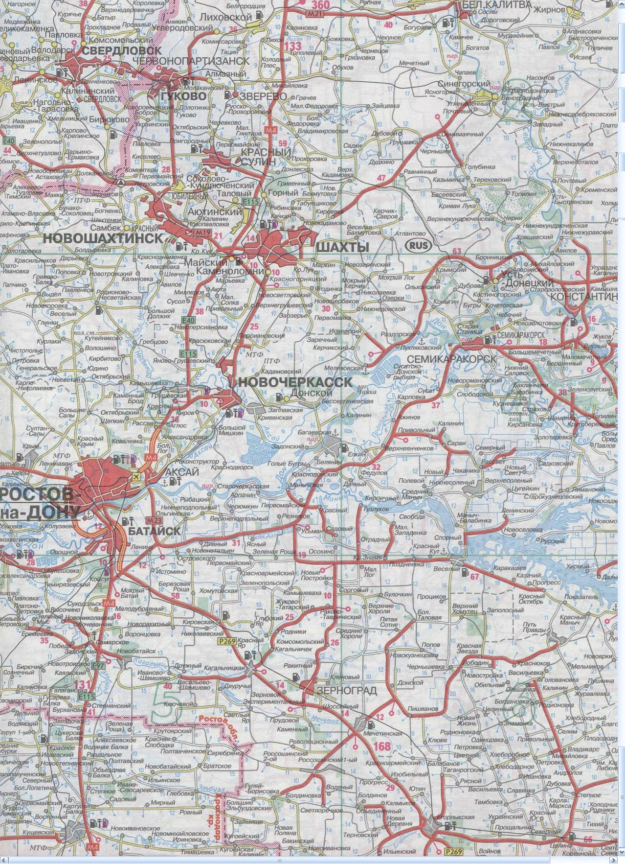 Карта Зерноград, Шахтинск, Ростов-на-Дону, Шахты