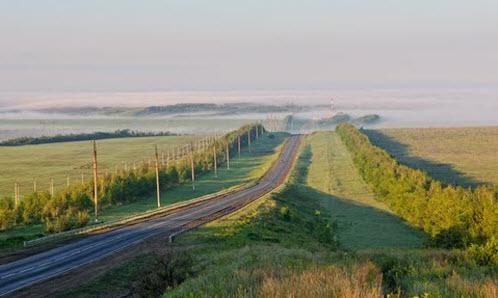 Дорога Р228, трасса Р228, утренний туман