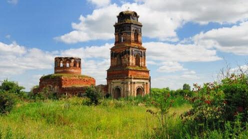 Останки Свято-Георгиевского храма, Кадное, трасса Р141