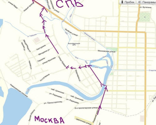Схема объезда Вышнего Волочка, трасса М10.