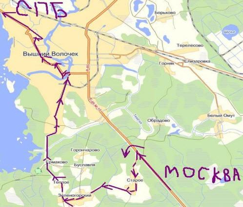 Схема объезда вышнего Волочка, дорога Москва Петербург