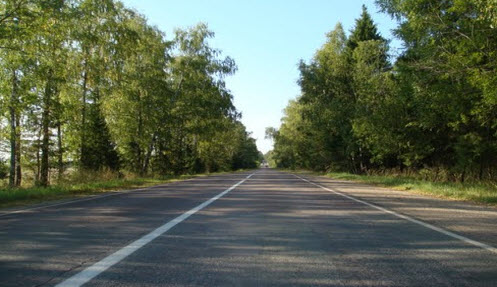 Трасса Р108 вдоль Рузского водохранилища