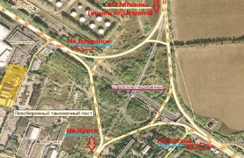 Схема движения через развязку Воронеж