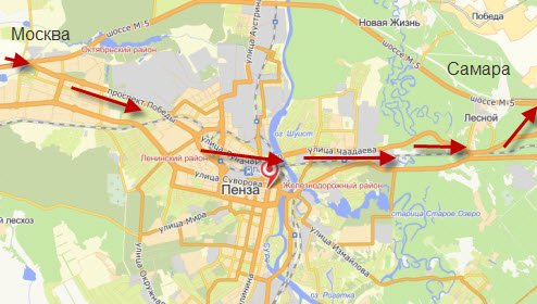 Схема проезда через Пензу