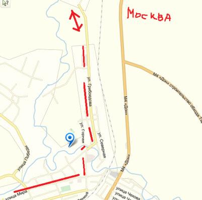 схема объезда пробки на трассе Дон, тарасовский