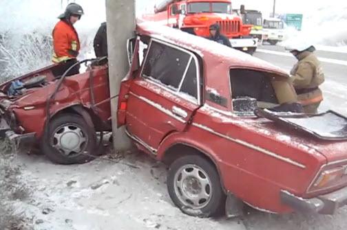 авария машина на столбе