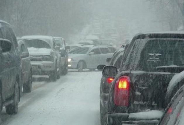 снегопад на трассе м7