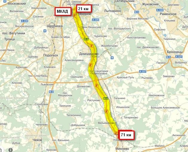 карта планого участка с 21 по 71 км трассы м4