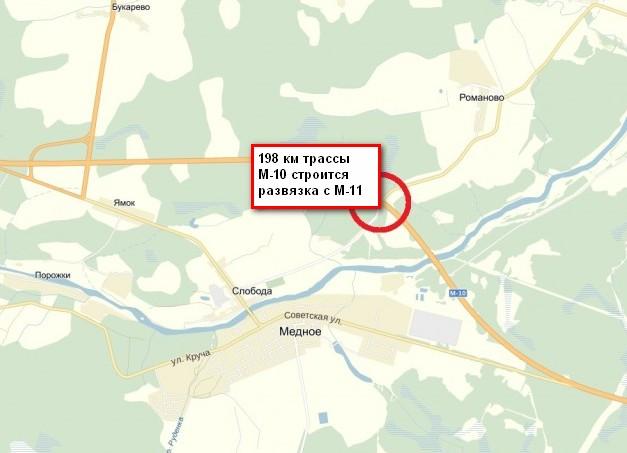 развязка на 198 км трассы м-10