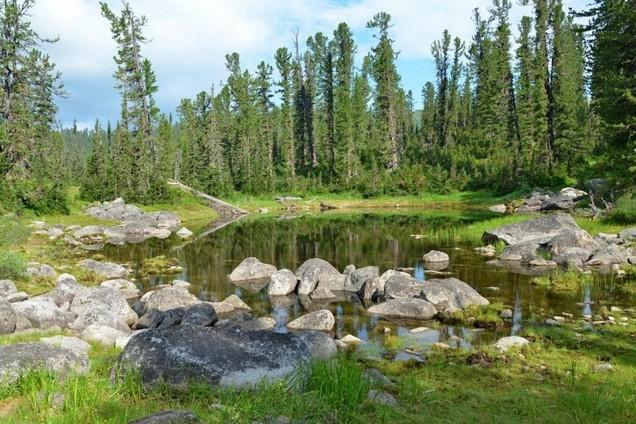 небольшое озеро в ергаки