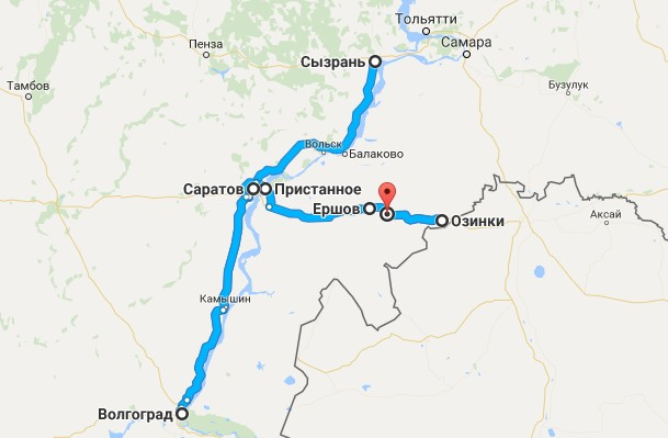 карта трассы саратов - озинки