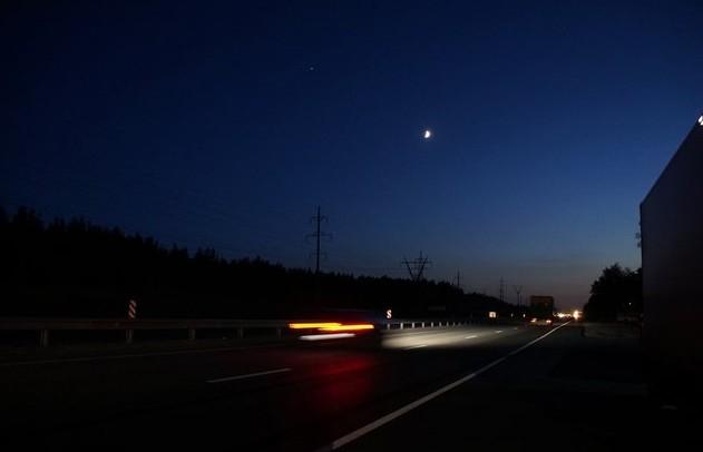 трасса м5 ночью