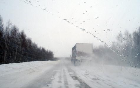 Трасса М7 снежная дорога