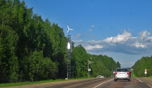 Трасса А114, видеокамыра работвют о ветряка на маршруте Вологда Новая Ладога