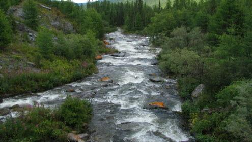 Трасса А161 горная река