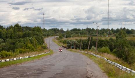 Трасса Р52, дорога Р52 возле поселка Медведь