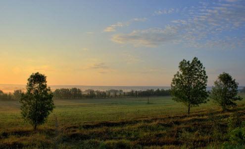Вид с трассы А143, утро возле тамбова