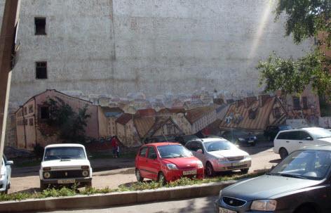 Дом расписанный графити, выборг, трасса М10