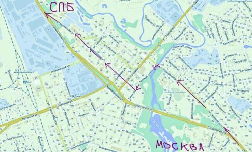 Схема проезда через Клин, трасса М10