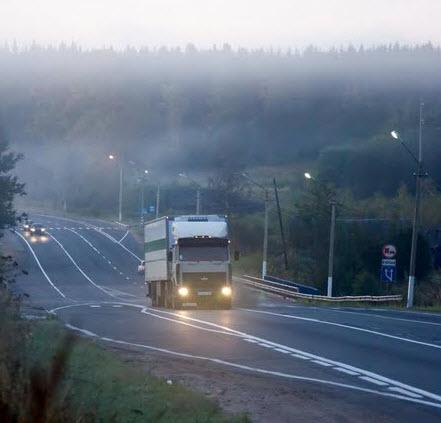 Трасса Москва петербург, туманное утро