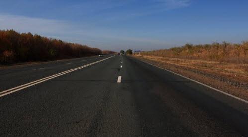 Трасса Р335 перед Нижней Павловкой
