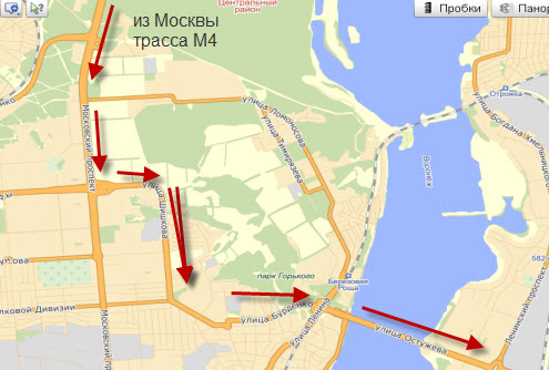 схема проезда через Воронеж, часть 1