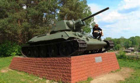 танк Т34, Белый, трасса р136