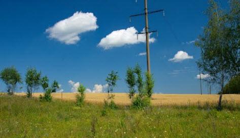 поле, столбы, деревья, трасса р199