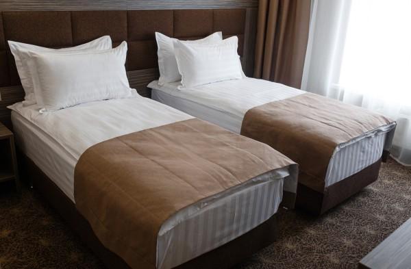 номер с двумя кроватямив отеле Родина на трассе Москва Сочи