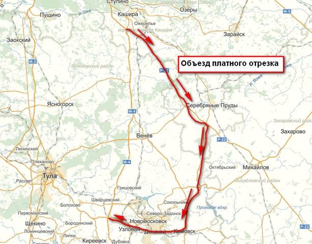 карта объезда платного участка на м4