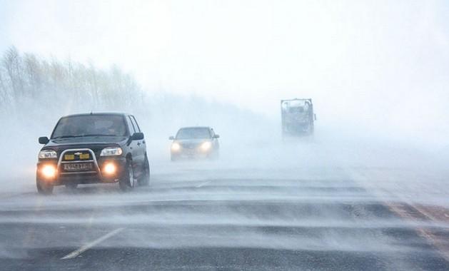 снежный буран на дороге