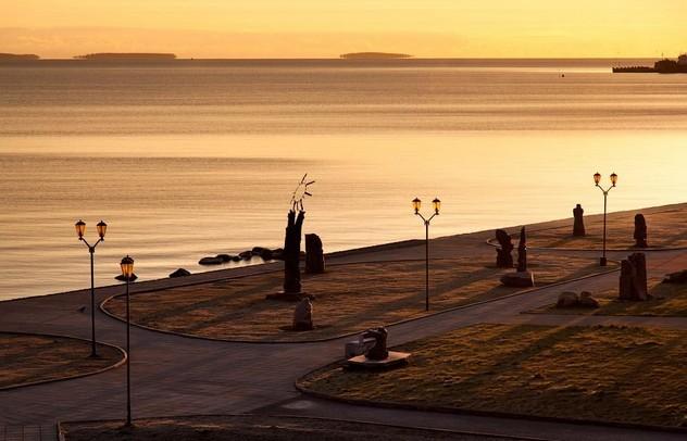 рассвет на онежском озере