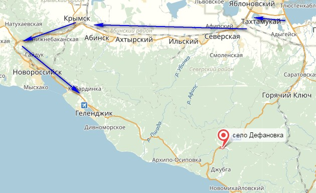 маршрут на черное море через крымск