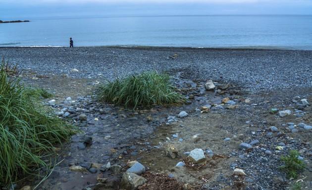 исчезающий ручей на берегу моря