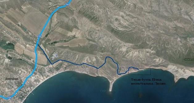 на авто в крым, карта побережья