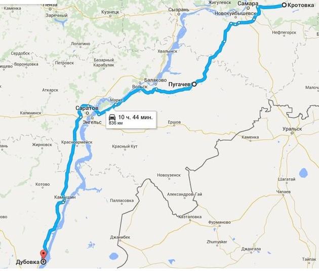 схема пройденого маршрута