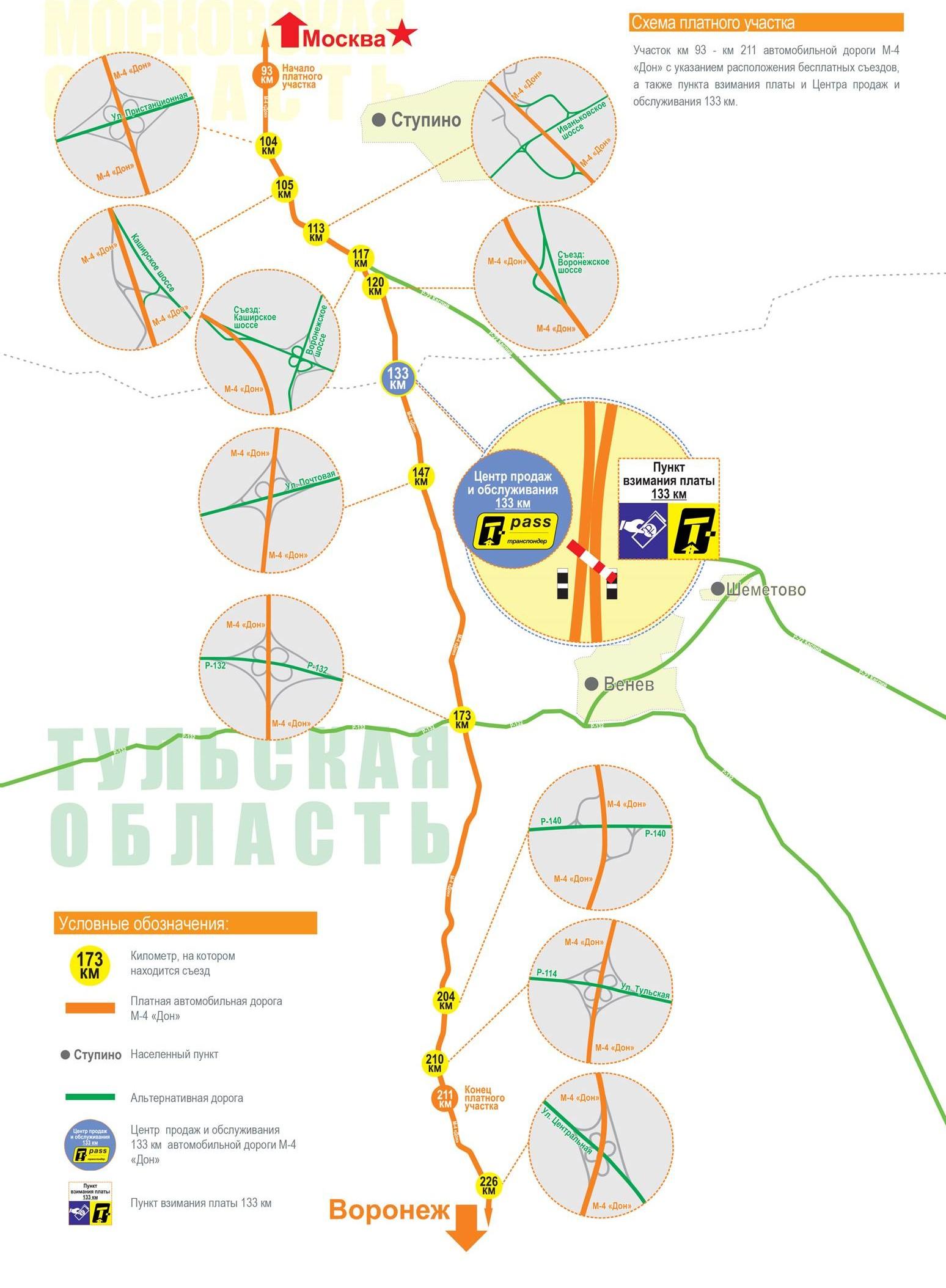 Схема участка с развязками и альтернативными маршрутами