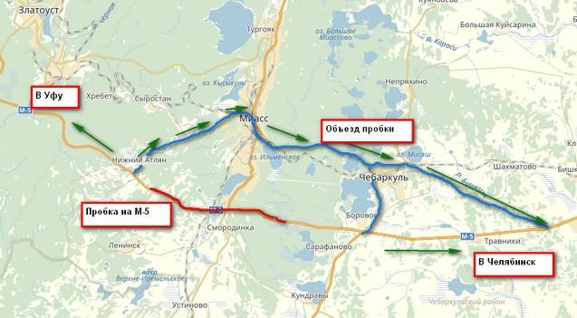 Схема объезда пробки на трассе М-5 Уфа - Челябинск