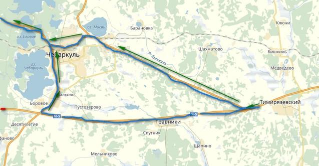 схема объезда пробки через Чебаркуль