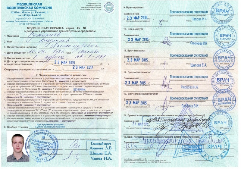 какие документы нужны для прохождения медкомиссии