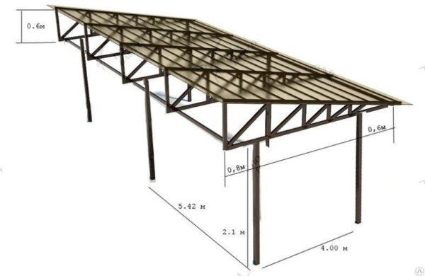 схема стального каркаса для навеса